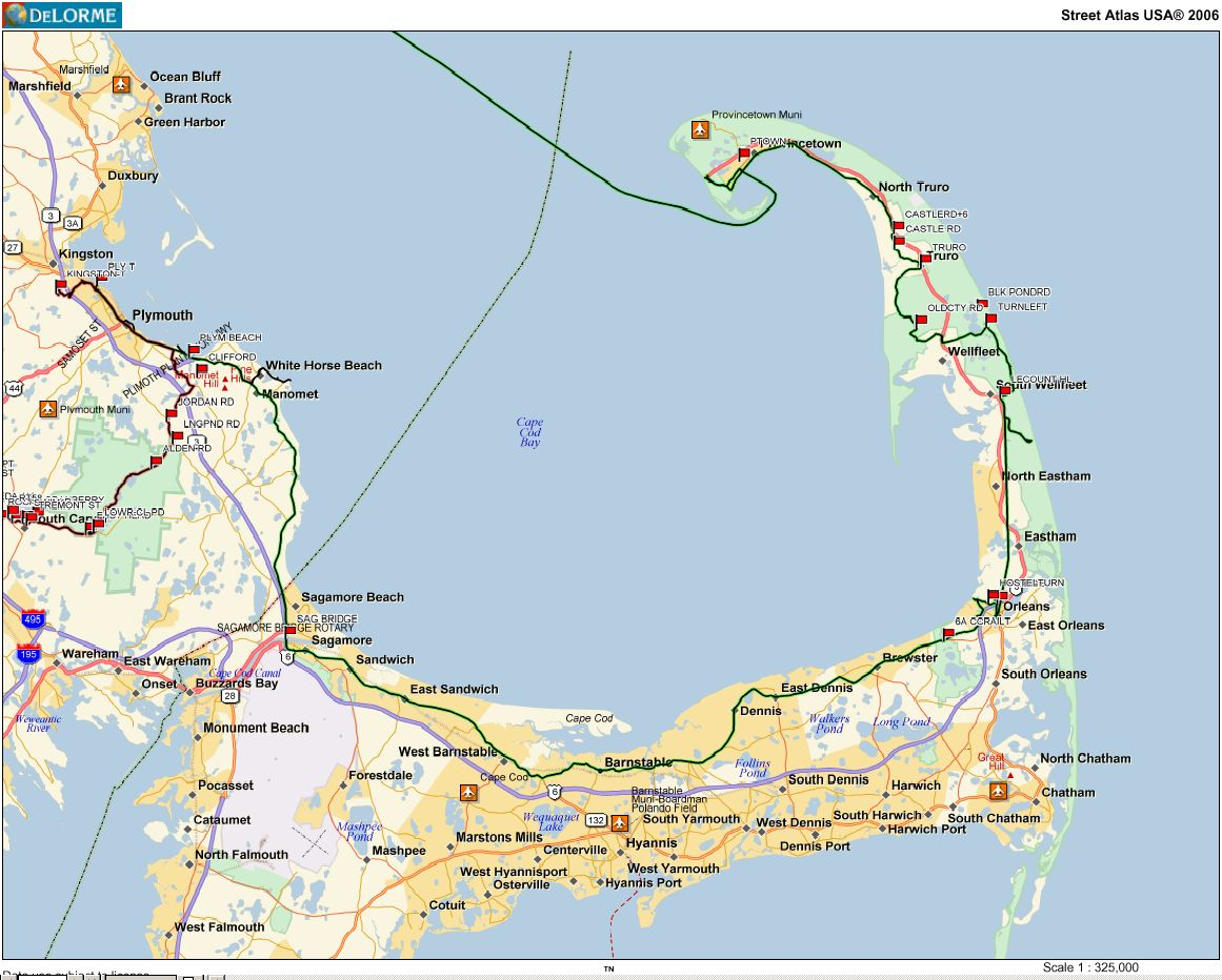 Car-Free-Bike-Trips Cape Cod Rail Trail Map on