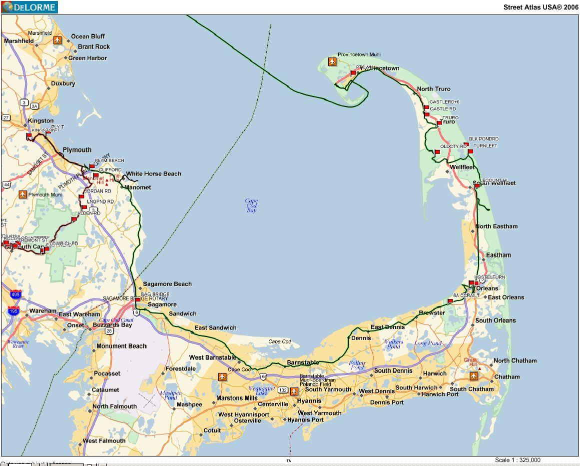 map boston to cape cod Car Free Bike Trips map boston to cape cod