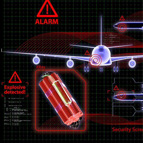 abstract image of bomb, airplane, alarm